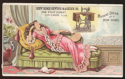 1890S Tc, New Home Sewing Machine Co. Chicago, Il. 'maidens Dream Of A New Home'