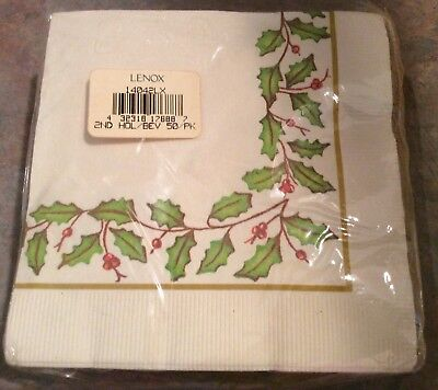 Lenox Holiday Holly Paper Cocktail Napkins - NIP