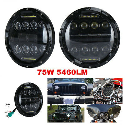 1Pc 7''75W 5460LM LED Round Headlight+H13 Adapter Kit  High&Low Beam For Harley