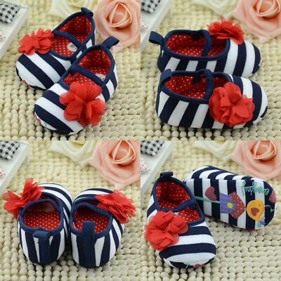 139F Hot Pretty Toddler Girl Newborn Prewalker Sneakers Strip Lovely Crib Shoes