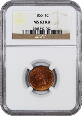 1866 1c NGC MS63 RB - Indian Cent