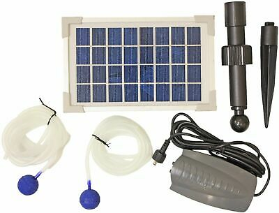 Woodside Solar Powered Oxygenator Pond Water Oxygen Pump 2 Air Stone Aerator