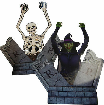 Set Of 2 Halloween XL Tombstone Grave Breaker Wall Decorations - Witch/Skeleton