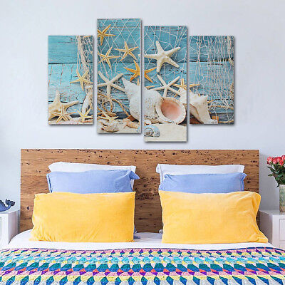 AU 4Pcs Sea Starfish Sand Beach Shell Canvas Prints Painting Valentines Decor