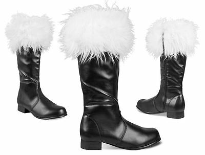 Mens Professional Father Christmas Santa Suit Fur Trim Black Boots Fancy Dress