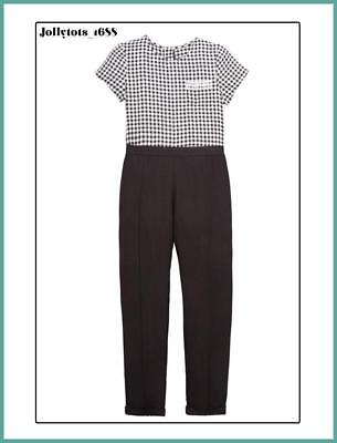 Girls Gingham Jumpsuit Smart Black & White Outfit Size 8-11 Years - RRP £26