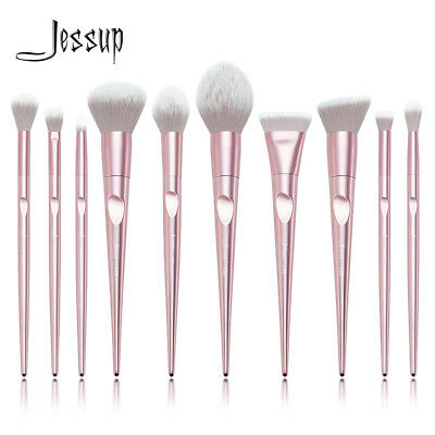 Jessup Beauty Pink Makeup Brush Set Powder Blush Foundation Tapered Handle 10Pcs