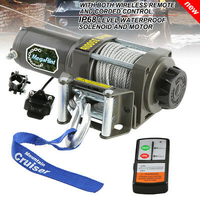 Electric Winch 3000LBS/1360kg Steel Cable Wireless ATV 4WD REMOTES 12V