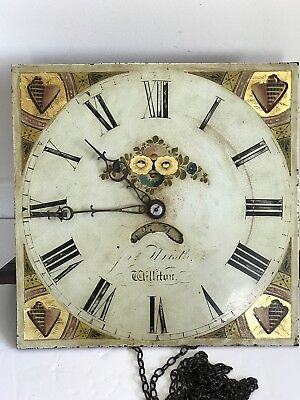Antique Williton Grandfather Clock Movement Face Pendulum