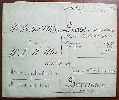 1874 Vellum Indenture Bliss to Itter for Houses at Chilton Street, Bethnal Green