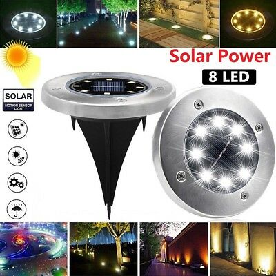 Waterproof Solar Power Disk Lights Buried Light Outdoor Under Ground Lamp 8 LED