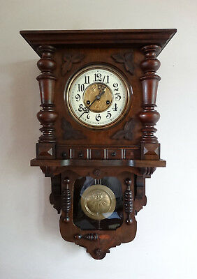 Antique German Gustav Becker Wall Clock Free Swinger Berliner Chiming 8 Day