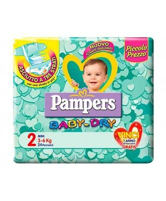 Pampers Baby Dry Downcount No Flash Mini Misura 2 (3-6kg) 24 Pannolini