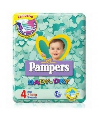 Pampers Baby Dry Downcount No Flash Maxi - Taglia 4 (7-18kg) 19 Pannolini