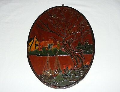 Primitive Old Antique Hand Painted Folk Art Wooden Wall Plaque Painting  Signed