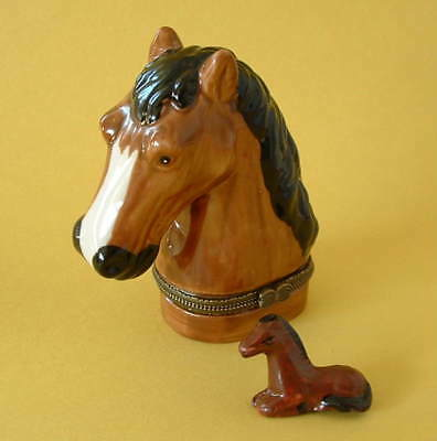 New  Handpainted Equestrian Horses Pony Horse Head Porcelain Hinged Trinket Box