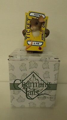 Charming Tails You're The Ticket 82/123 Mouse in Movie Ticket Mint in Box