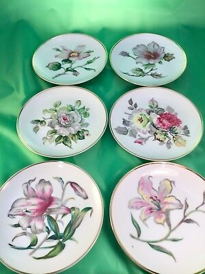 6 Lily Rose Flower Wales China Wall Hanging Or Desert Plates Japan- Hand Painted