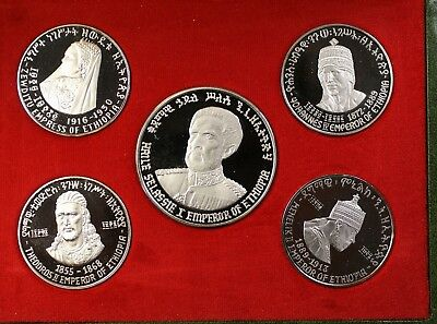 1972 Ethiopia 5 Coin Silver Proof  National Bank Set OGP 5 Sovereigns with COA