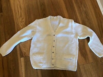 Vintage Childrens White Nautical Theme Cardigan Age 12-13