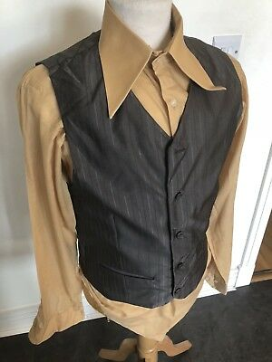 VINTAGE 80's GREY PINSTRIPE SILKY DRESS WAISTCOAT VEST SMALL