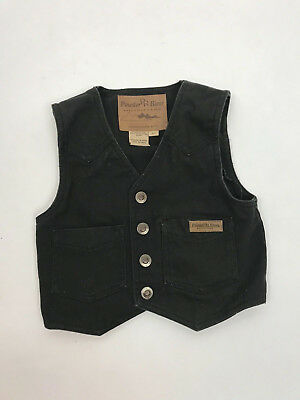 Boys Powder River Outfitters Western Canvas Charcoal Gray Vest Kids Sz XS