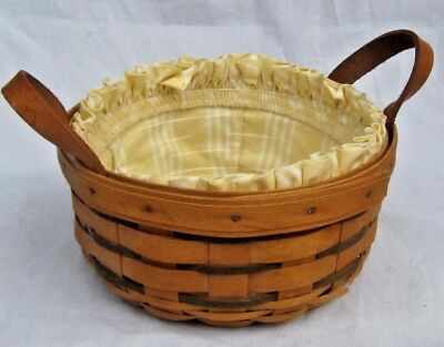 Longaberger 1994 Heartland Button Basket Leather Handles Yellow Liner Protector