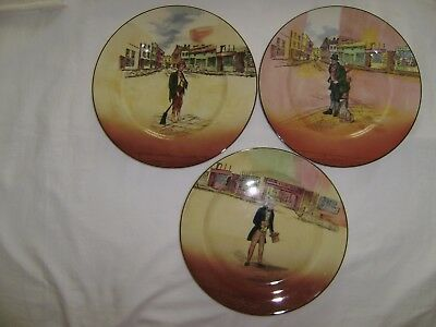 3 Vintage ROYAL DOULTON 10 1/2 Inch  Plates  Charles Dicken's Characters