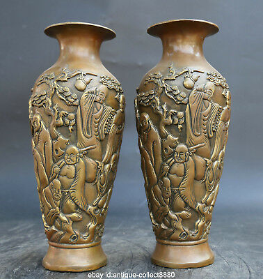 """10.2"""" Antique Chinese Buddhism Fengshui Bronze Gild 18 Luo Han Bottle Vase Pair"""