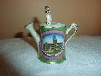 Gemma China 7.3 Cm Watering Can  With Gilt Flowers & Town Hall Barrow In Furness
