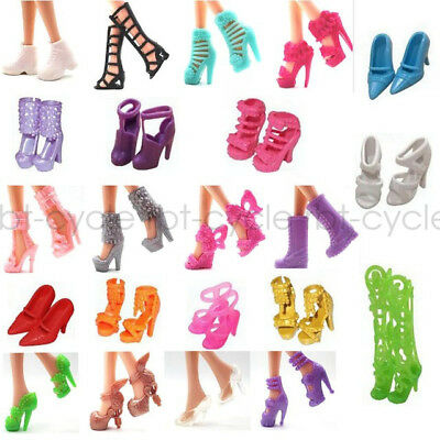 10 Pair Barbie Dolls Shoes Princess Party Dressing Heels Sandals Mixed Style