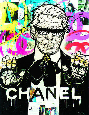 Alec Monopoly Oil Painting on Canvas Graffiti art Karl Lagerfeld Chanel 28x36""
