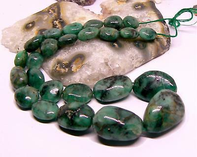 """RARE HUGE NATURAL GREEN BRAZIL EMERALD NUGGET BEADS 12-28.5mm 16"""" STRAND 403cts"""