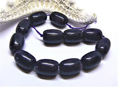 12 RARE BIG NATURAL AFRICAN PURPLE SUGILITE BARREL BEADS 14mm 144cts AAA