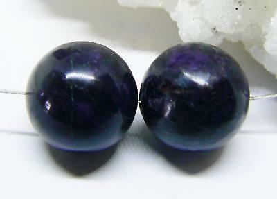2 RARE HUGE NATURAL AFRICAN PURPLE SUGILITE ROUND SPHERE BALL BEADS 14mm 44.5cts