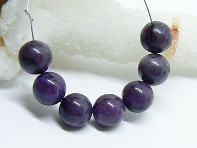 7 NATURAL UNTREATED AFRICAN PURPLE SUGILITE ROUND BEADS STRAND 8mm 27.45ctw
