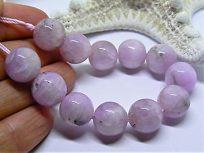 "RARE ROUND NATURAL PINK AFGHAN KUNZITE CATS EYE BEADS 5.75"" STRAND 177ctw 12mm"