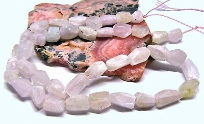 "RARE NATURAL SOFT CHATOYANT PINK AFGHAN KUNZITE FACETED BEAD 17.5"" STRAND 165cts"