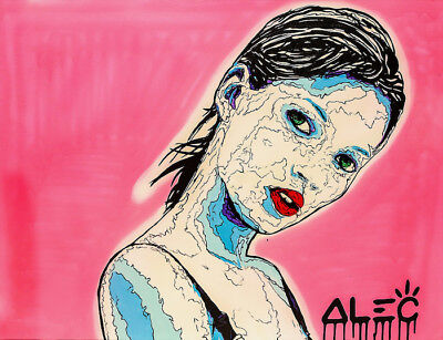 Alec Monopoly Oil Painting on Canvas Graffiti Home decor Kate Moss 28x36""