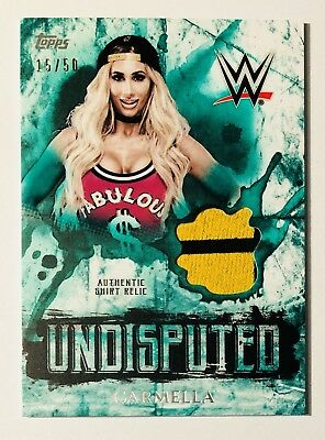 2018 Topps WWE Undisputed - Carmella Authentic Shirt Relic GREEN 15/50