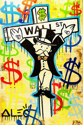 """Alec Monopoly Oil Painting on Canvas Abstract Graffiti art Wall Street 28x40"""""""