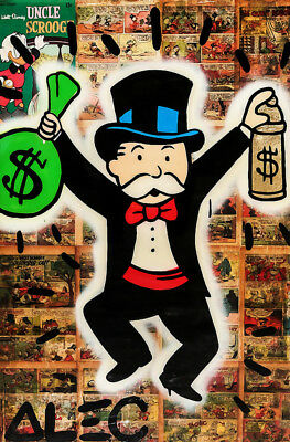 """Alec Monopoly Oil Painting on Canvas Abstract Graffiti art Money Bag 28x40"""""""