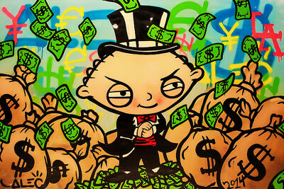 """Alec Monopoly Oil Painting on Canvas Abstract Graffiti art Stewie Griffin 28x40"""""""