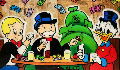 Alec Monopoly Oil Painting on Canvas Urban art Wall Decor Poker Gang 28x48""