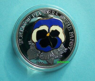 Cook Islands - 5$ -2009 - World of Flowers - The Pansy - silver