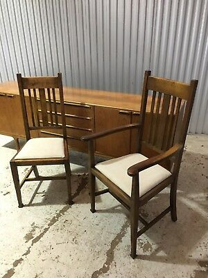 Arts & Crafts Era Set Of  8 Dining Chairs