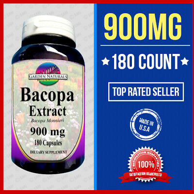 Bacopa Extract 900 mg 180 Capsules Bacopa Monnieria 3 Month Supply Made In USA
