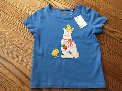 NWT's!!! Girl's MINI BODEN Blue Bunny/Chicks Applique Top - Size 4-5