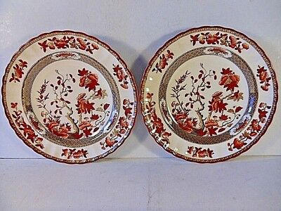 Vintage Pair Copeland Spode India Tree Dessert Plates.Rust Red Butterflies.2/959