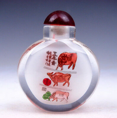 Peking Glass Inside *Legendary Buffalo & Poem* Reverse Hand Painted Snuff Bottle